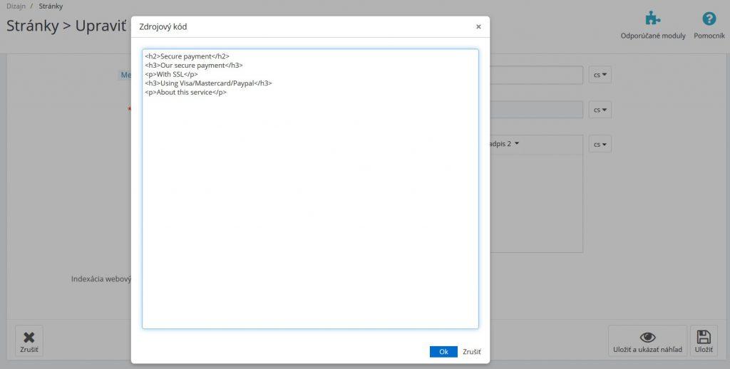 HTML editor - korektní obsah