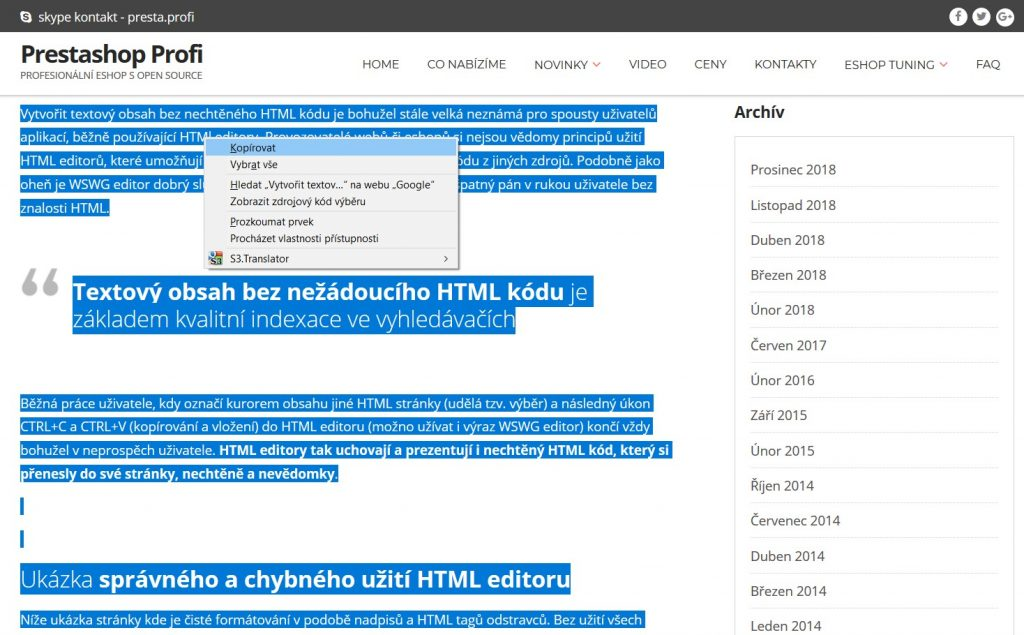 kopírování obsahu z cizího zdroje - včetně html