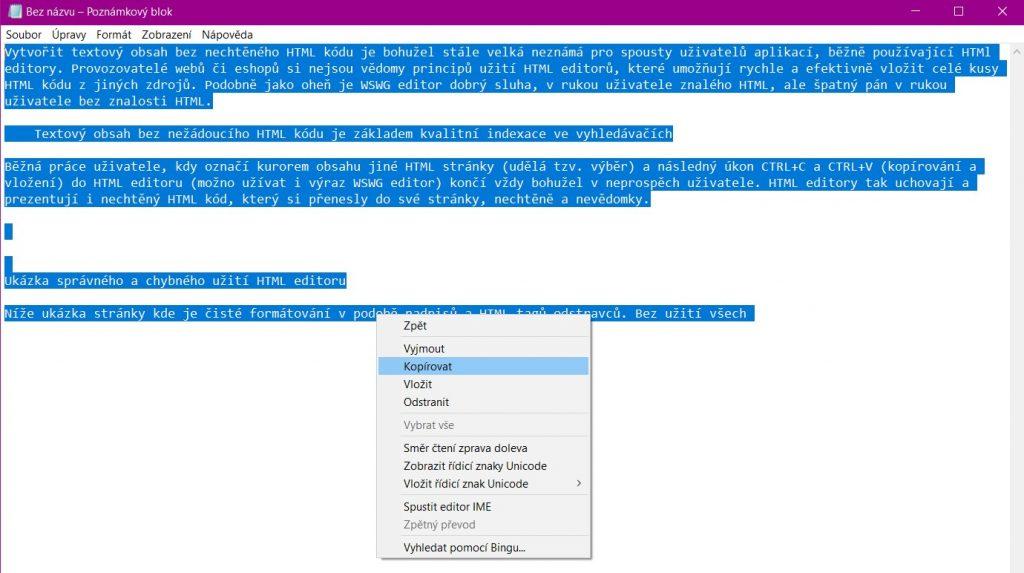 vykopírování čistého textu z Notepad