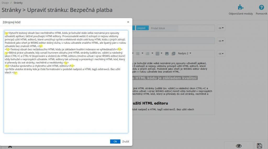 vložení čistého textu do HTML editoru