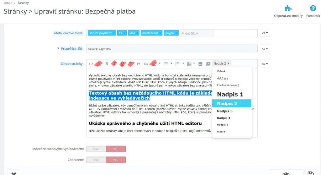 naformátování vloženého čistého textového  obsahu