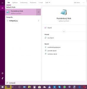 Jak najít notepad ve windows